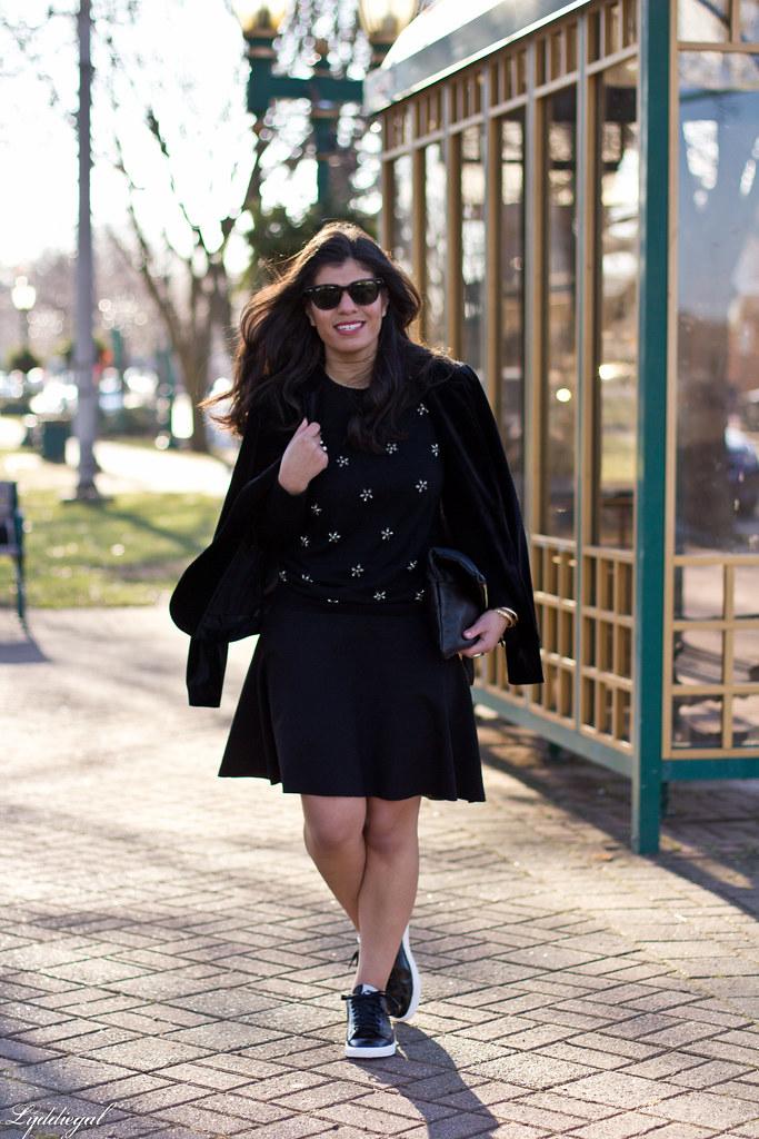 Black bejeweled sweater, velvet blazer, skirt, trainers-3.jpg