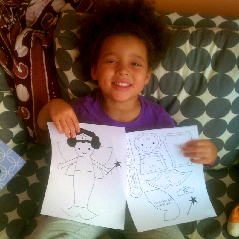 Z's design (with help from mommy): Mermaid Superhero Fairy doll with Afro in progress...