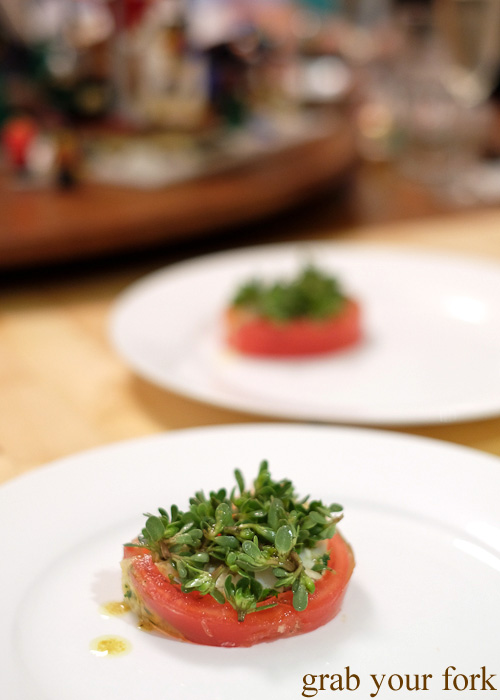 Mud crab and tomato terrine with purslane at the Stomachs Eleven Christmas dinner 2014
