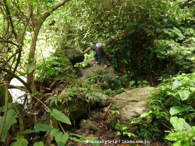 Rocky trail going up. Hiking to Kalubihon Falls in Iligan City, Philippines