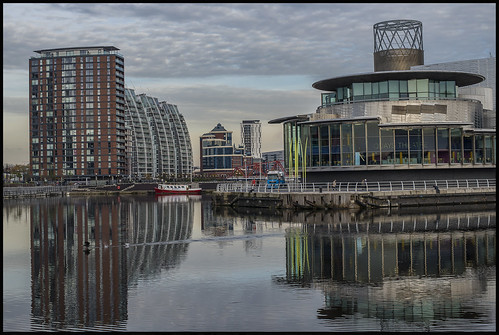 uk england reflection water architecture manchester boat nikon europe theatre quay bbc nikkor50mmf18 salford lowry berth nikond610