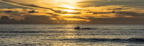 sunset panorama sun clouds boat waves ride pacific dusk south wave jetski oceania nauru