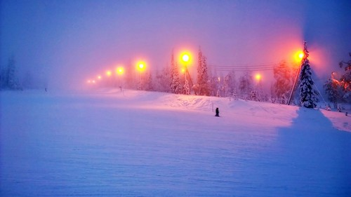winter snow night finland evening skiing lapland kuusamo slope ruka