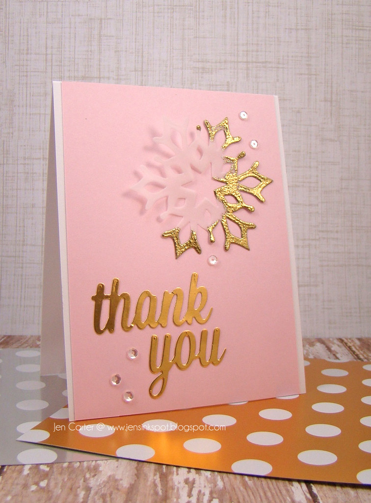 Jen Carter Gold Snowflake Thank You Card