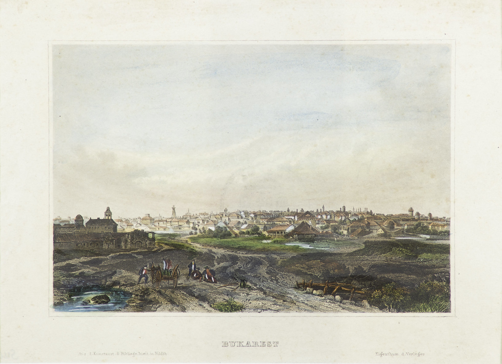 Bucharest, general view, chromolithography, 19th century