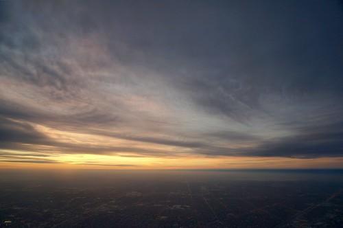 sunset chicago window plane airplane view flight landing