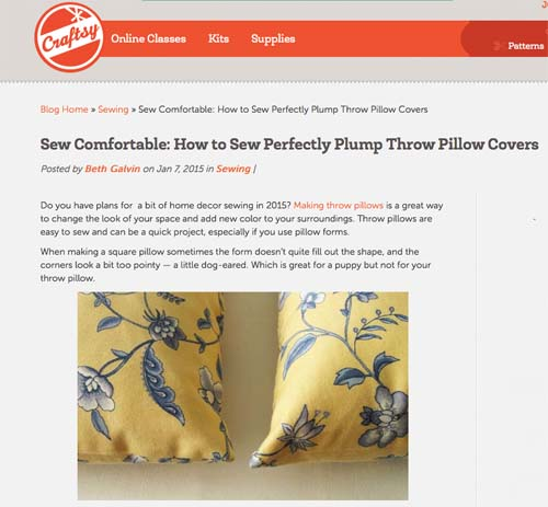 Craftsy post for blog pillows
