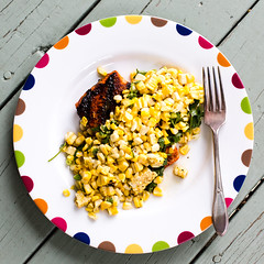 Red Chile Rubbed Salmon with Toasted Corn Vinaigre…