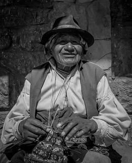 Man knitting a chullo on Taquile