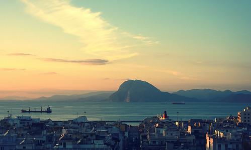 city blue light sunset sea sky mountain clouds port landscape golden daylight nikon day ship peaceful greece hour patras d7100