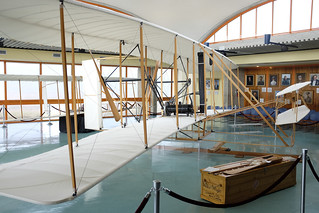 A replica of the Wright Flyer is shown here in Kitty Hawk, N.C.. Surfmen from the Life-Saving Service, the Coast Guard's predecessor, helped the Wright Brothers in their experiments in flight.