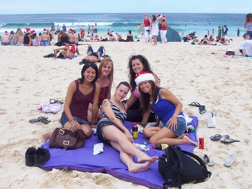 girls at Bondi Beach on Christmas
