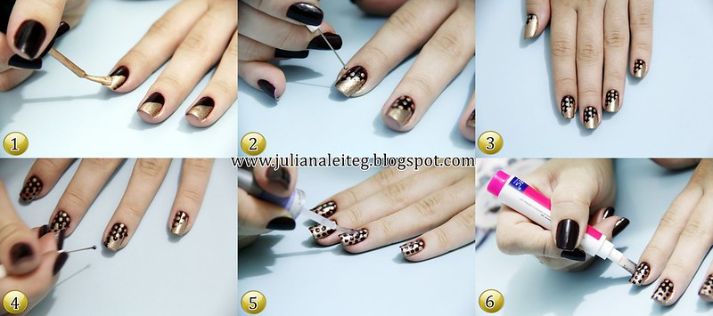 juliana leite tutorial unhas da semana decorada nail art polka dots dourada bolinhas derretendo