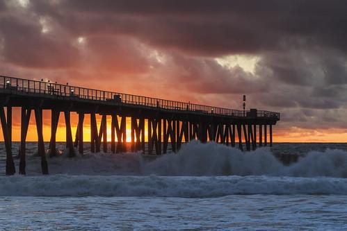 ocean sunset sea seascape storm beach coast pier whitewater surf waves cloudy dusk shoreline shore hermosabeach
