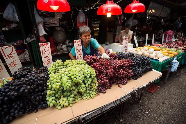 Fresh fruits at Yao Matei market in Kowloon, Hong Kong.