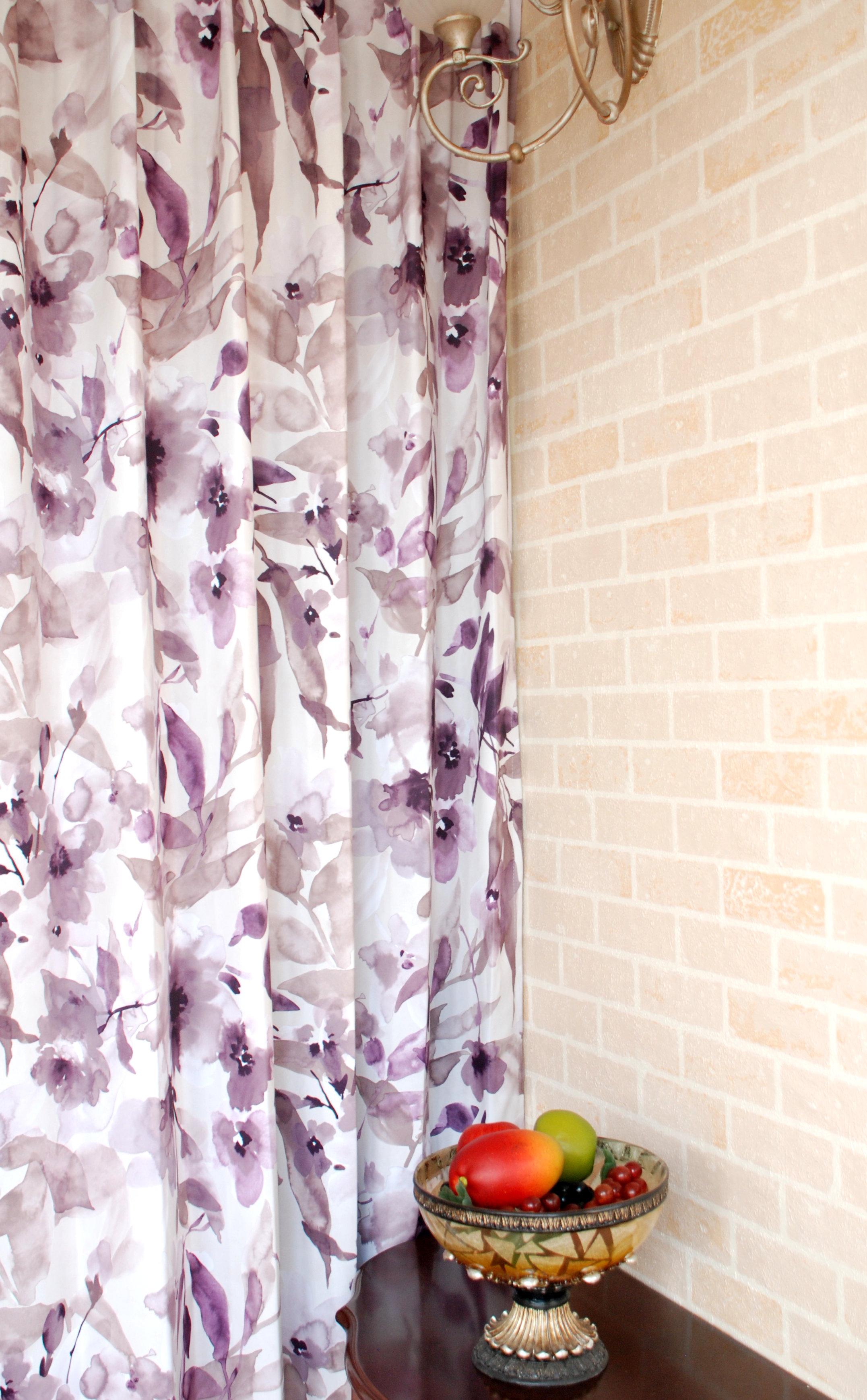 潑墨花意象 典雅花卉 防光(遮光)窗簾布 DA1290124