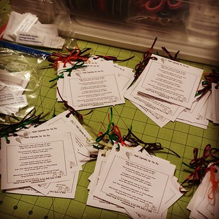 Putting together packets of labels and tags for our volunteers to add to blankets donated through  #TheLinusConnection. Meeting tomorrow with holiday treats and live music! St. Philip's in Round Rock 9-11 am! #blanketcharity #craftforgood