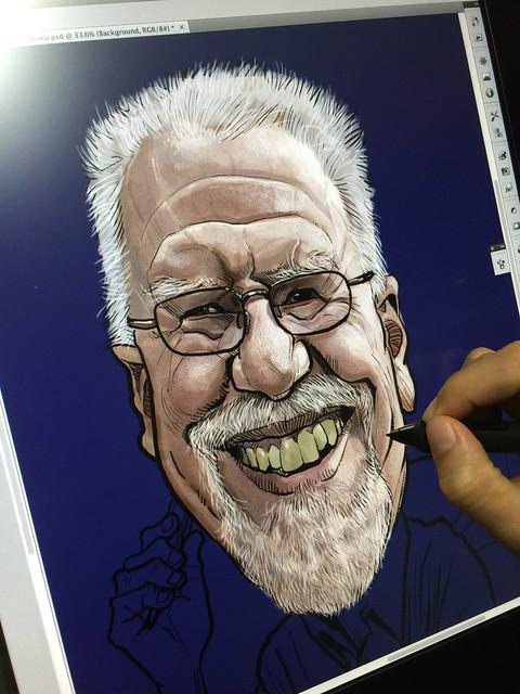 Digital writer caricature sketch