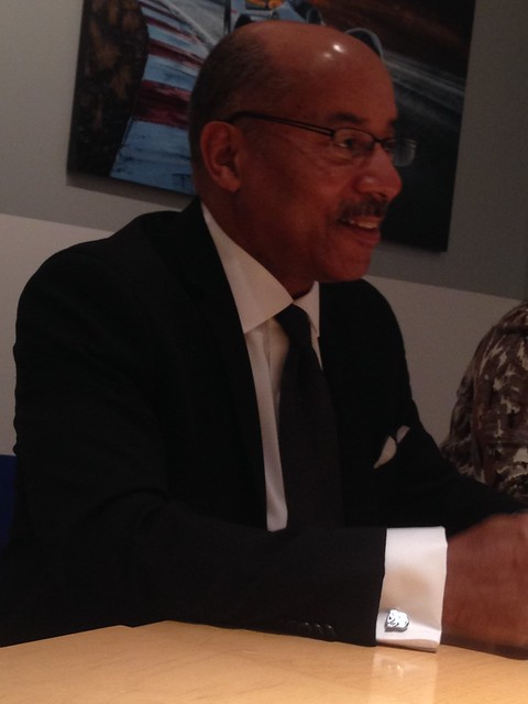 PIC: It's in the details. @GM VP of Design North America Ed Welburn talks w us. Check his cufflink! #Autobots #NAIASGM #GMDiversity