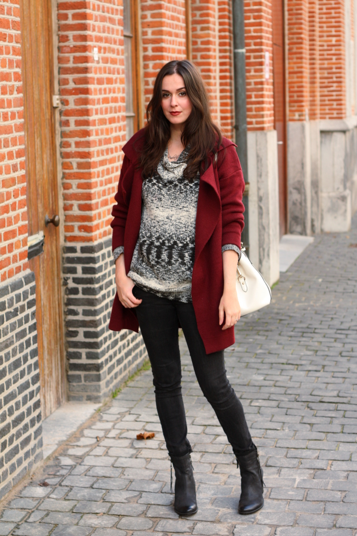 burgundy cardigan, white purse, marled sweater