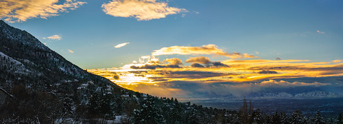 winter sunset panorama snow mountains clouds utah snowcapped saltlakecity mountoiympus