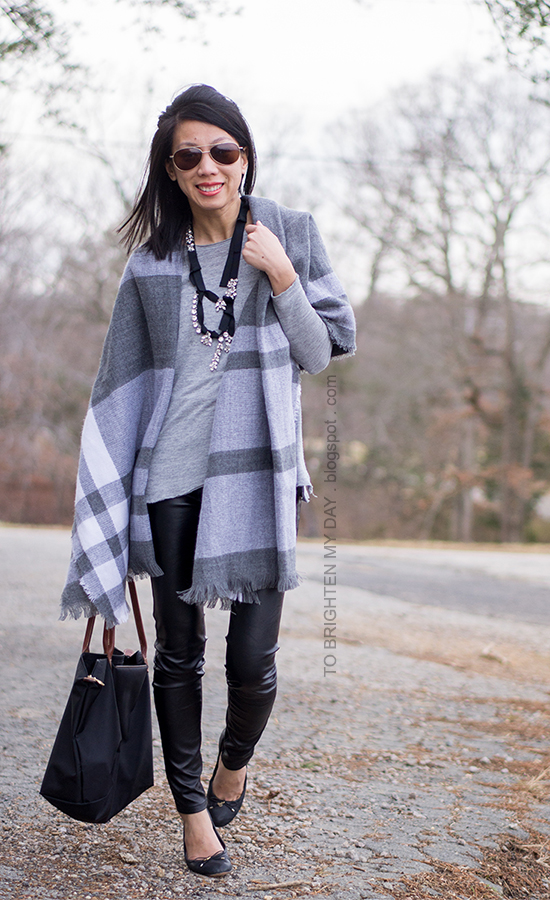 plaid scarf as shawl, black ribbon necklace, black faux leather pants