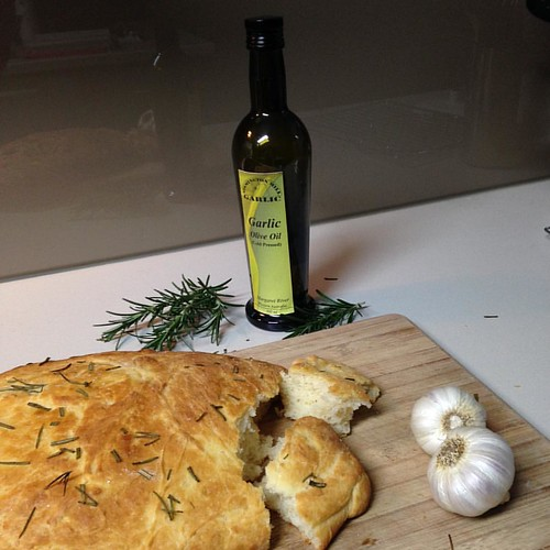 Testing my new #cameraapp #camera+ with some #foodphotography. #rosemary and #garlic #foccacia with #osmingtonmills garlic and #garlicoliveoil  #yummo