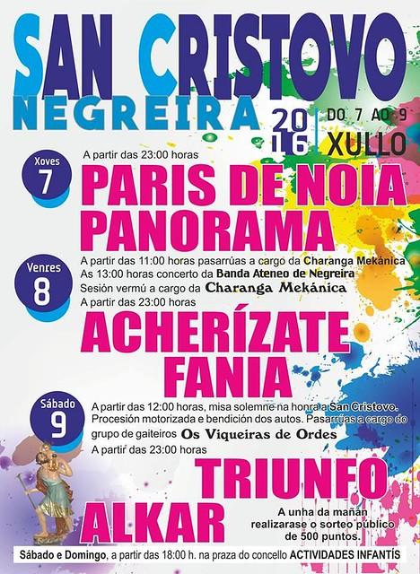 Negreira 2016 - Festas patronais de San Cristovo - cartel