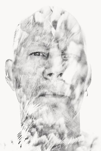 monochrome human people being person face man feather multiexposure multipleexposure tripleexposure j16 pietarsaari jakobstad finland suomi pekkanikrus skrubu pni