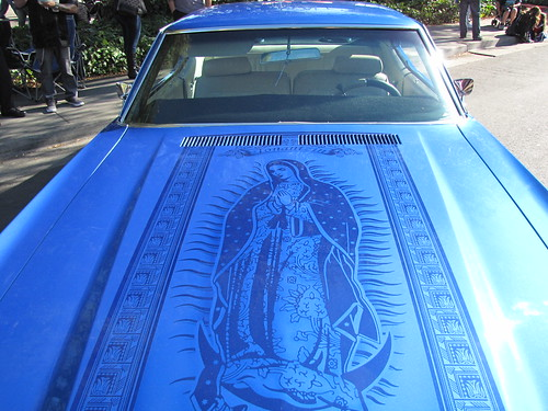 Blue Lowrider Car with Virgin Mary Art