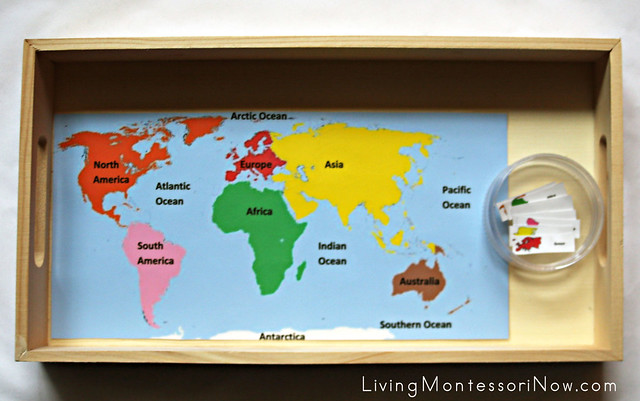 Continent Map Labeling Tray for Young Preschoolers
