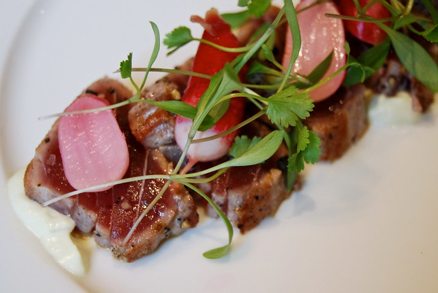 Seared Tuna with Soy Ginger Dressing & Pickled Radish at 108 Brasserie, Marylebone