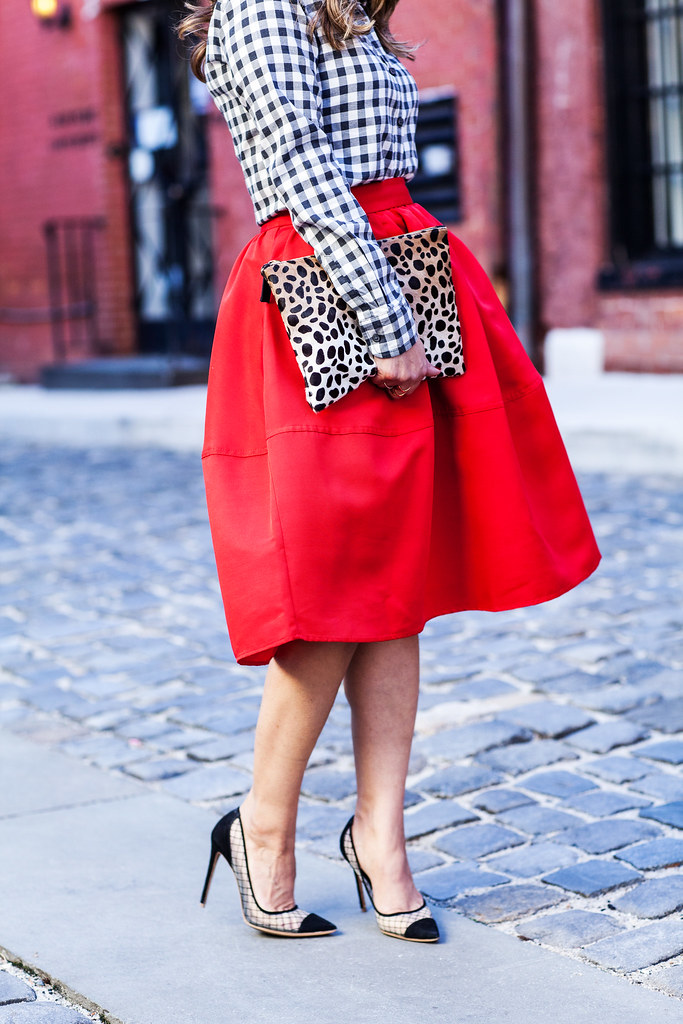 Express red skirt plain shirt Banana republic clare vivier leopard clutch piperlime kurt geiger Sharkie heels lord and taylor what to wear during the holiday season fashion blogger full red skirt Nordstrom sunglasses