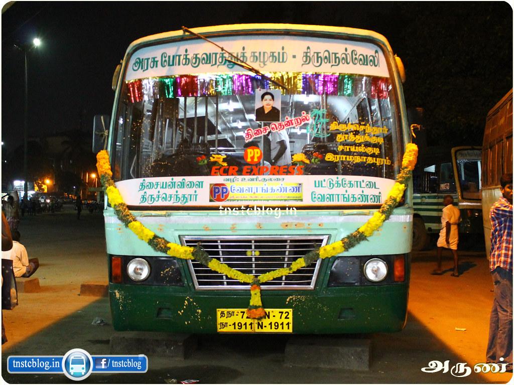 TN-72N-1911 of Thisayanvilai Depot Route 999 Thisayanvilai - Velankanni via Uvari, Thiruchendur, Thoothukudi, Sayalkudi, Ramnad, Pattukottai, Thiruthooraipoondi.