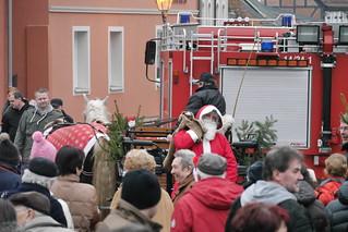 Weihnachtsmann eingetroffen, mit der Kutsche
