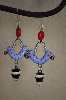 Black, White, Red, and Blue Porcelain Earring Set E- 0154
