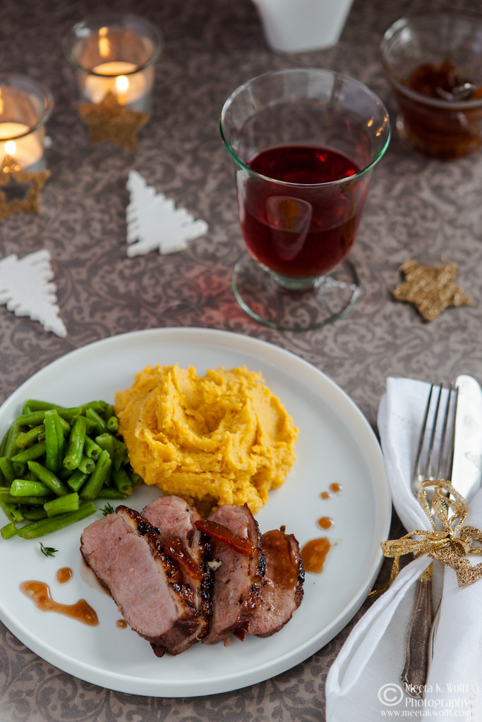 Orange Marmalade Glazed Duck Breasts with Parsnip Pumpkin Truffle Butter Mash-0202