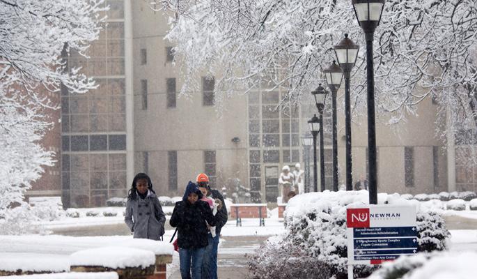 Newman-University-snow-Gorges-atrium-students