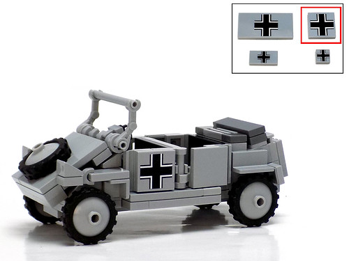 Panzerbricks' Kübelwagen Typ 82 with 2x2 printed tile