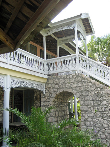 Cut stone staircase and Georgian fretwork at Harmony Hall, St. Mary, Jamaica
