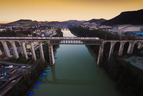 bridge train schweiz switzerland aerialview railway zug sbb aerial zürich brücke bahn railways rhein drone eglisau schweizerischebundesbahnen drohne sandrobisaro djiphantom2
