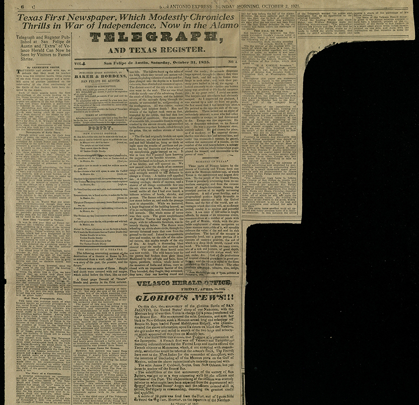 Telegraph and Texas Register, 1921 reprint of October 1, 1835, first edition