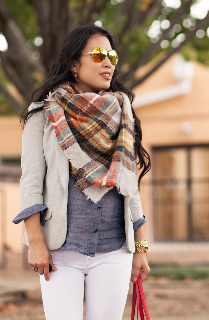 cute & little blog | petite fashion | maternity baby bump pregnant | fall outfit | grey blazer, zara plaid blanket scarf, chambray shirt, white jeans, gold pumps, kate spade red bag, oakley mirrored sunglasses | third trimester 29 weeks