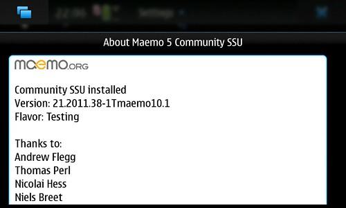 About Maemo5 CSSU Ver21.2011.38-1Tmaemo10.1