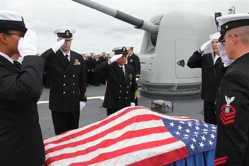USS Mobile Bay Honors Fallen Shipmate on Veterans Day