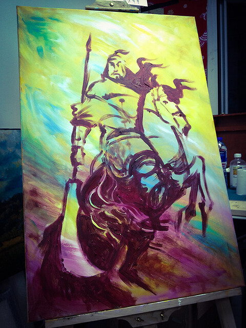 Painting Gwan Gung: Work in Progress