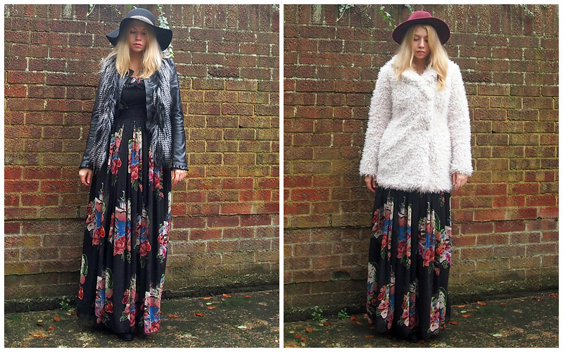 Primark, Maxi Dress, Printed, Floppy Chain Trim Hat, Felt, Faux Leather Jacket, Faux Fur Gilet, H&M, Layering, Burgundy Fedora, Teddy Bear Fur Coat, AW14, How to Wear, Styling Inspiration, Outfit Ideas, Sam Muses, UK Fashion Blog, London Style Blogger