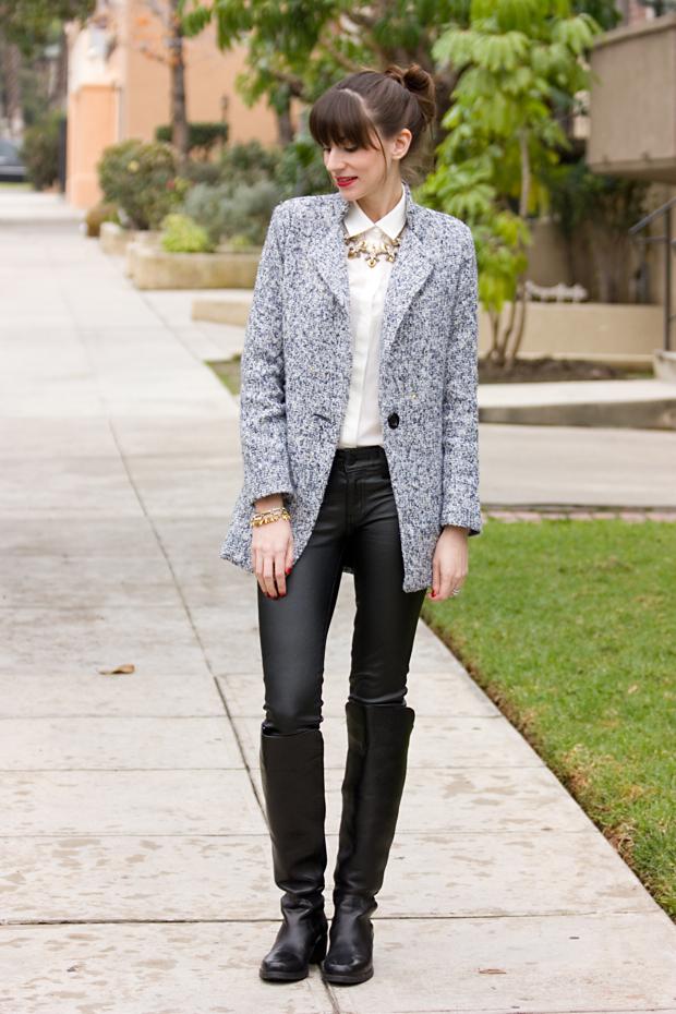 sheinside, tweed coat