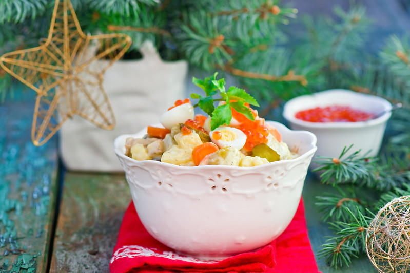 Salade Olivier, Russian salad, traditional Russian New Year's salad