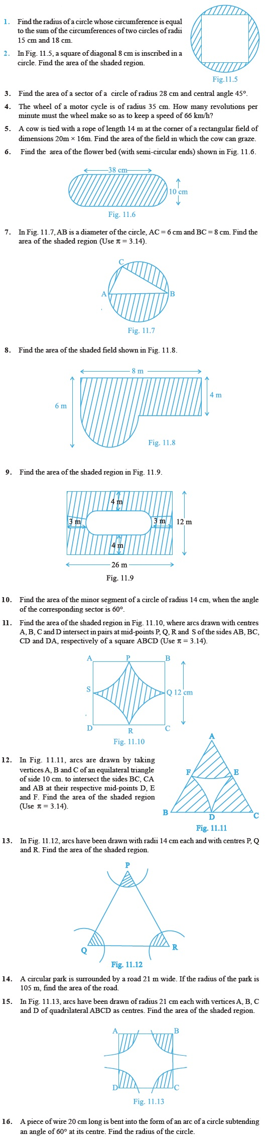 Worksheets Area Of Shaded Region Worksheet class 10 important questions for maths area related to circles circles